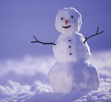 Snowman standing in the snow